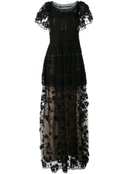 Alberta Ferretti Embroidered Gown Women Silk Cotton Polyester Rayon 46 Black