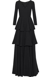 Raoul Bead Embellished Tiered Ruffled Crepe Gown Black