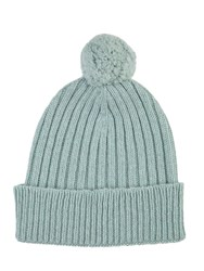 Johnstons Of Elgin Cashmere Ribbed Pom Pom Hat Green