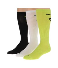 Nike Dri Fit Fly Crew 3 Pair Pack Cyber Black White Black Crew Cut Socks Shoes Multi