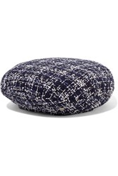 Maison Michel Flore Metallic Cotton Tweed Beret Navy