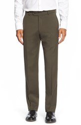 Men's Big And Tall Ballin Flat Front Solid Wool Trousers Loden