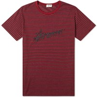 Saint Laurent Stripe Logo Tee Red
