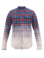 Balmain Logo Embroidered Faded Check Cotton Shirt Red Multi