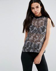 Vero Moda Printed Sleeveless Blouse Grey