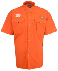 Columbia Men's Clemson Tigers Bahama Short Sleeve Button Up Shirt Orange