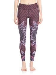 Mara Hoffman Printed Ankle Length Leggings Burgundy
