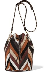 Jerome Dreyfuss Popeye Striped Suede Shoulder Bag Brown
