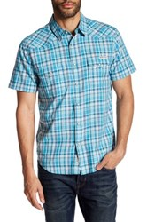 Lucky Brand Western Plaid Short Sleeve Regular Fit Shirt Blue