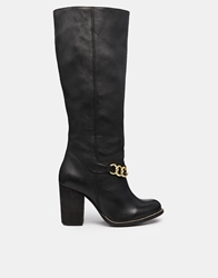 Park Lane Chain Leather Heeled Knee High Boots Black