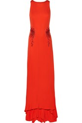Mikael Aghal Embellished Jersey Gown Orange