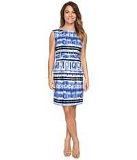 Tahari By Arthur S. Levine Petite Ikat Linen Sheath Dress White Royal Indigo Women's Dress Blue