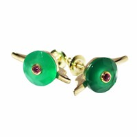 Maiko Nagayama Green Agate And Ruby Cocktail Earring Studs Red Gold Green