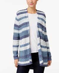 Styleandco. Style Co. Striped Open Front Cardigan Only At Macy's Industrial Blue Combo