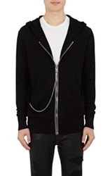 Rta Double Faced Cotton Zip Front Hoodie Black