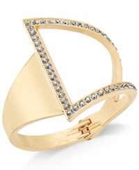 Inc International Concepts Rose Gold Tone Asymmetrical Crystal Cuff Bracelet Only At Macy's