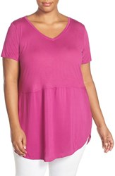 Vince Camuto Plus Size Women's Two By V Neck Mixed Media Tunic