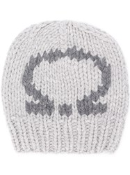 Salvatore Ferragamo Gancio Knitted Beanie Grey