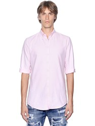 Dsquared Raw Cut Cotton Oxford 3 4 Sleeve Shirt