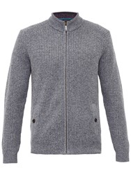 Ted Baker Akela Woven Funnel Neck Zipped Jumper Grey