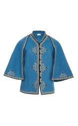 Talitha Cross Embroidered Cape Jacket Blue