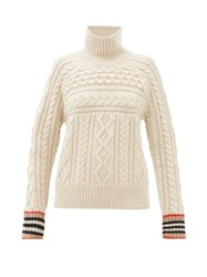 Burberry Cable Knit Cashmere Sweater Ivory