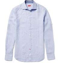 Isaia Slim Fit Checked Linen Shirt Sky Blue