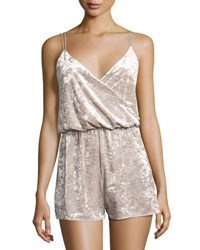 Romeo And Juliet Couture Crushed Velvet Romper Gray