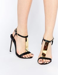 Asos Hashtag Wide Fit Heeled Sandals Black