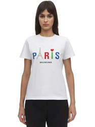 Balenciaga Paris Print Cotton Jersey T Shirt White