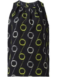 Etro Circle Print Sleeveless Blouse Black