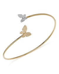 Kc Designs Diamond Micro Pave Butterfly Bangle In 14K Yellow And White Gold .25 Ct. T.W. White Gold