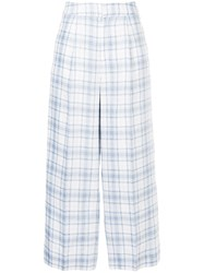 Cityshop Checked Wide Leg Trousers White