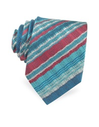 Missoni Diagonal Striped Woven Silk Narrow Tie Blue Shades