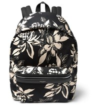 Saint Laurent Floral Print Canvas Backpack Black