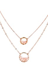 Panacea Crystal Circle Double Chain Necklace Pink Rose Gold