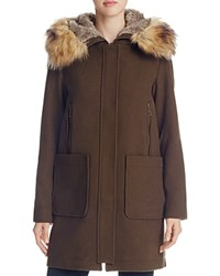 Vince Camuto Zip Front Faux Fur Hood Coat Army