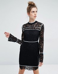 Sportmax Code Augusto Lace Bell Sleeve Dress With Blue Piping Black