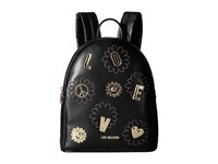 Love Moschino Flower Backpack Black Backpack Bags