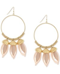 Bcbgeneration Gold Tone Floral Inspired Gypsy Hoop Earrings