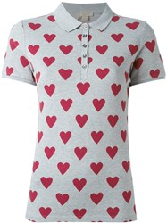 Burberry Heart Print Polo Shirt Grey