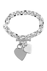 Sterling Silver Heart Charm Toggle Bracelet No Color