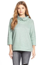 Petite Women's Caslon Drape Neck Pullover Heather Blue Raindrop
