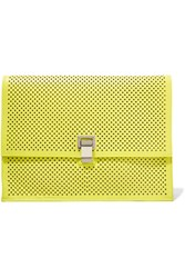 Proenza Schouler Large Lunch Neon Perforated Leather Clutch Chartreuse