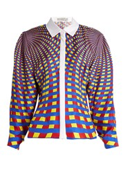 Mary Katrantzou Hecate Spiralite Print Silk Twill Shirt Blue Multi