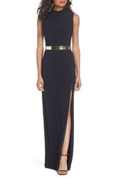 Mac Duggal Belted Mock Neck Sheath Gown Midnight