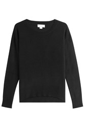 Velvet Cashmere Pullover With Waffle Detailing Black