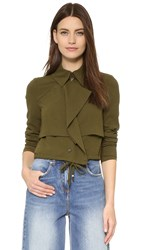Haute Hippie Cropped Trench Jacket Military