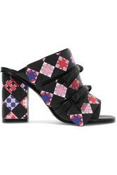 Emilio Pucci Bow Embellished Printed Leather Mules Black
