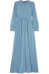 Co Gathered Crepe De Chine Maxi Dress Light Blue